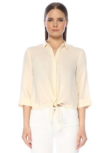 NetWork Kadın 1075237 Çizgili Beli Bağcıklı Gömlek Ekru